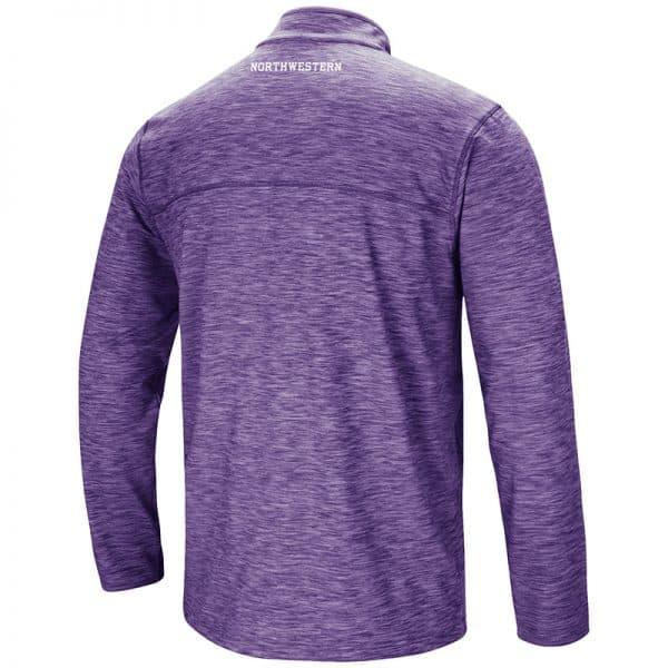 Northwestern University Wildcats Colosseum Men's Heather Purple Action Pass 1/4 Zip L/S T-Shirt with N-Cat Design-Back