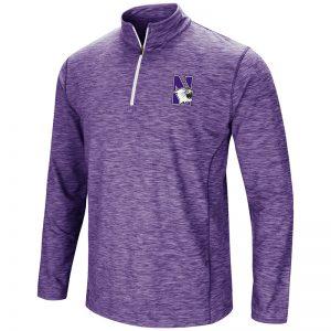 Northwestern University Wildcats Colosseum Men's Heather Purple Action Pass 1/4 Zip L/S T-Shirt with N-Cat Design