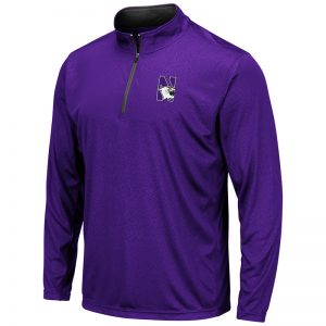 Northwestern University Wildcats Colosseum Men's Purple Embossed 1/4 Zip Windshirt with N-Cat Design