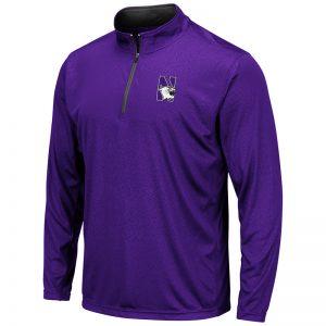 Northwestern University Wildcats Colosseum Men's Purple Embossed 1/4 Zip Windshirt with N-Cat Design