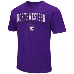 Northwestern University Wildcats Colosseum Men's Purple Dual Blend S/S T-Shirt with N-Cat Design