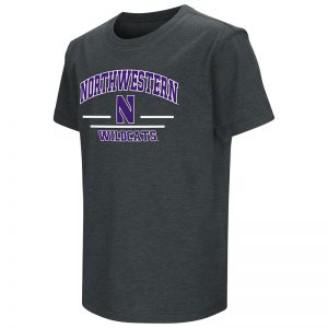 Northwestern University Wildcats Colosseum Men's Heather Charcoal Dual Blend T-Shirt with Stylized N Design