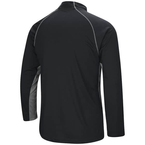 Northwestern University Wildcats Colosseum Men's Black/Grey 1/4 Zip Wind Shirt with Stylized N Design-Back