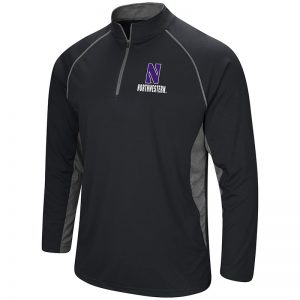 Northwestern University Wildcats Colosseum Men's Black/Grey 1/4 Zip Wind Shirt with Stylized N Design