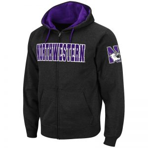 Northwestern University Wildcats Colosseum Men's Black VF Full-Zip Hooded Sweatshirt with N-Cat Design