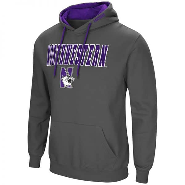 Northwestern University Wildcats Colosseum Men's Charcoal VF Pullover Hooded Sweatshirt with N-Cat Design