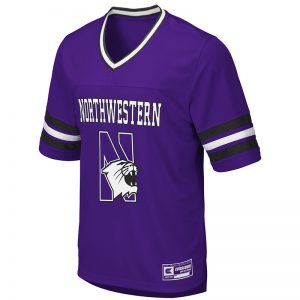 Northwestern University Wildcats Colosseum Ladies Purple Football Jersey Pullover with N-Cat Design
