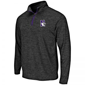 Northwestern University Wildcats Colosseum Men's Heather Black Action Pass L/S 1/4 Zip with N-Cat Design