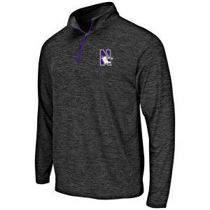 Northwestern University Wildcats Colosseum Men's Heather Black Action Pass L/S 1/4 Zip with N-Cat Design