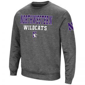 Northwestern University Wildcats Colosseum Men's Heather Charcoal VF Poly Slub Crewneck Sweatshirt with N-Cat Design