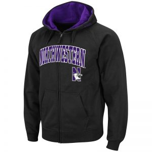 Northwestern University Wildcats Colosseum Men's Black VF Full Zip Hooded Sweatshirt Arch & N-Cat Design