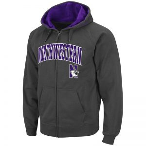 Northwestern University Wildcats Colosseum Men's Charcoal VF Full Zip Hooded Sweatshirt Arch & N-Cat Design