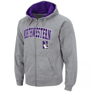 Northwestern University Wildcats Colosseum Men's Grey VF Full Zip Hooded Sweatshirt with Arch & N-Cat Design