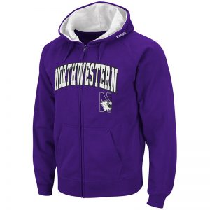 Northwestern University Wildcats Colosseum Men's Purple VF Full Zip Hooded Sweatshirt with Arch & N-Cat Design