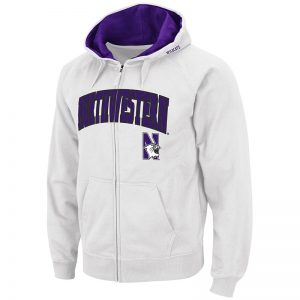 Northwestern University Wildcats Colosseum Men's White VF Full Zip Hooded Sweatshirt with Arch & N-Cat Design