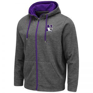 Northwestern University Wildcats Colosseum Men's Charcoal VF Poly Slub Fleece F-Z Hoodie With N-Cat Design