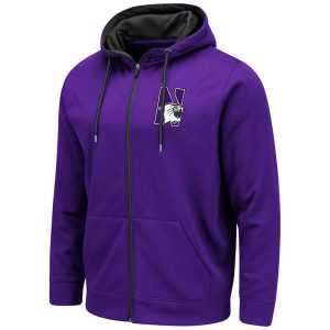 Northwestern University Wildcats Colosseum Men's Purple VF Poly Fleece F-Z Hoodie With N-Cat Design