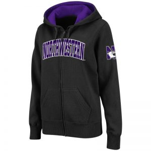 Northwestern University Wildcats Colosseum Men's Black VF Full Zip Hooded Sweatshirt with Arched Northwestern Design