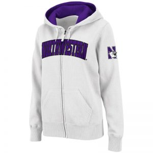 Northwestern University Wildcats Colosseum Men's White VF Full Zip Hooded Sweatshirt with Arched Northwestern Design