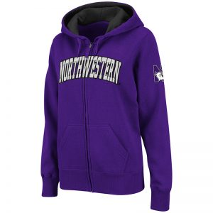 Northwestern University Wildcats Colosseum Men's Purple VF Full Zip Hooded Sweatshirt with Arched Northwestern Design
