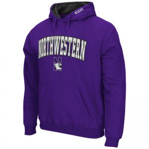 Northwestern University Wildcats Colosseum Men's Purple VF Pullover Hooded Sweatshirt with Arch & N-Cat Design