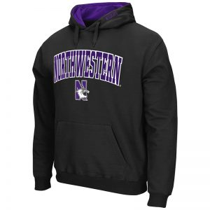 Northwestern University Wildcats Colosseum Men's Black VF Pullover Hooded Sweatshirt Arch & N-Cat Design