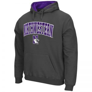 Northwestern University Wildcats Colosseum Men's Charcoal VF Pullover Hooded Sweatshirt with Arch & N-Cat Design