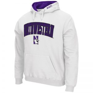 Northwestern University Wildcats Colosseum Men's White VF Pullover Hooded Sweatshirt with Arch & N-Cat Design