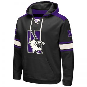 Northwestern University Wildcats Colosseum Men's Grey VF Pullover Hooded Sweatshirt with Arch & N-Cat Design