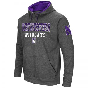 Northwestern University Wildcats Colosseum Men's Charcoal VF Poly Slub Fleece Raglan Hooded Sweatshirt with N-Cat Design