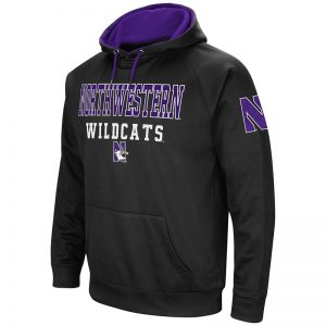 Northwestern University Wildcats Colosseum Men's Black VF Poly Fleece Raglan Hooded Sweatshirt with N-Cat Design