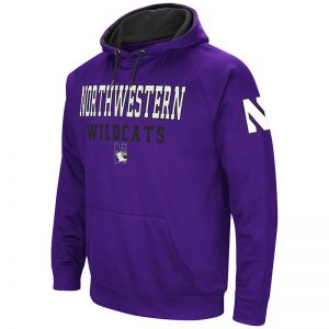 Northwestern University Wildcats Colosseum Men's Purple VF Poly Fleece Raglan Hooded Sweatshirt with N-Cat Design