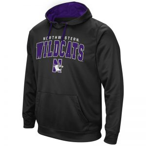 Northwestern University Wildcats Colosseum Men's Black VF Performance Pullover Hooded Sweatshirt with Arched Wildcats & N-Cat Design