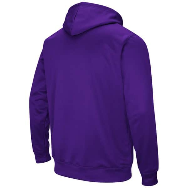 Northwestern University Wildcats Colosseum Men's Purple VF Performance Pullover Hooded Sweatshirt with Arched Wildcats & N-Cat Design-Back