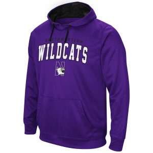 Northwestern University Wildcats Colosseum Men's Purple VF Performance Pullover Hooded Sweatshirt with Arched Wildcats & N-Cat Design