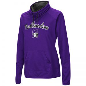 Northwestern University Wildcats Colosseum Ladies Purple VF Funnel Neck Poly Pullover with Script Northwestern & N-Cat Design