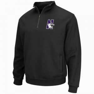 Northwestern University Wildcats Colosseum Men's Black VF 1/4 Zip Sweatshirt with N-Cat Design