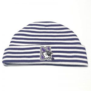 Northwestern University Wildcats Purple/White Stripped Newborn Knit Cap With N-Cat Design