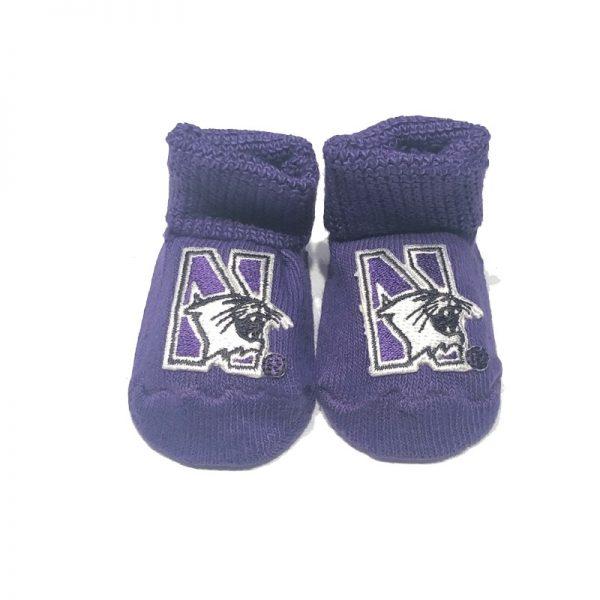 Northwestern University Wildcats Purple Newborn Booties With N-Cat Design