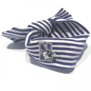 Northwestern University Wildcats Purple/White Stripped Hair Knot With N-Cat Design