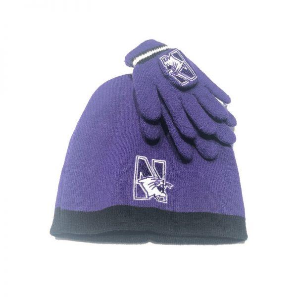 Northwestern University Wildcats Purple Infant & Toddler Knit Cap & Glove Set With N-Cat Design