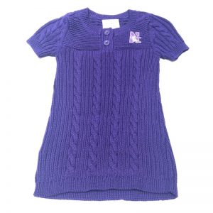 Northwestern University Wildcats Purple Knit Sweater Skirt With Embroidered N-Cat Design