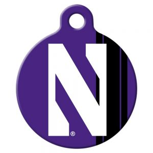 Northwestern University Wildcats Round Dog Tag With N-Cat Design