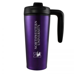Northwestern University Wildcats 16 oz Laser Engraved Purple Insulated Travel Tumbler With Handle