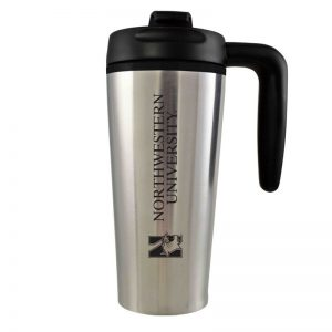 Northwestern University Wildcats 16 oz Laser Engraved Silver Insulated Travel Tumbler With Handle