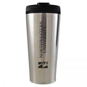 Northwestern University Wildcats 16 oz Laser Engraved Silver Insulated Travel Tumbler