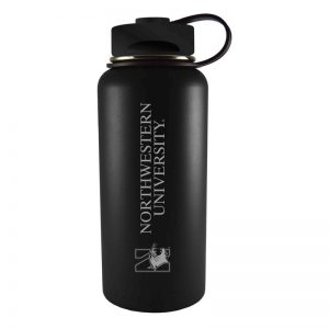 Northwestern University Wildcats 32 oz. Laser Engraved Black Boundless Travel Tumbler Water Bottle With N-Cat Design