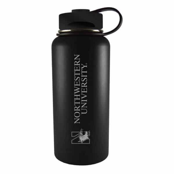 Northwestern University Wildcats 32 oz. Laser Engraved Black Boundless Travel Tumbler Water Bottle With N-Cat Design
