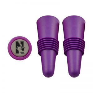 Northwestern University Wildcats Purple Rubber Wine Stopper Set With N-Cat Design