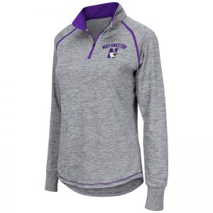 Northwestern University Wildcats Colosseum Ladies Light Grey Athena 1/4 Zip with N-Cat Design
